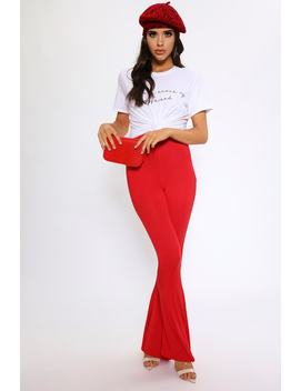 Red Jersey Flare Trousers by I Saw It First