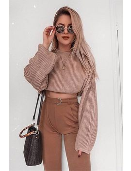 Camel D Ring Belt High Waist Trousers by I Saw It First