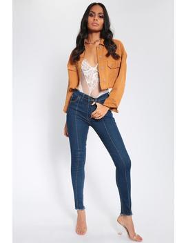 Mid Wash Frayed Hem Contrast Stitch Skinny Jeans by I Saw It First