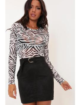 Black Belted Suede Mini Skirt by I Saw It First