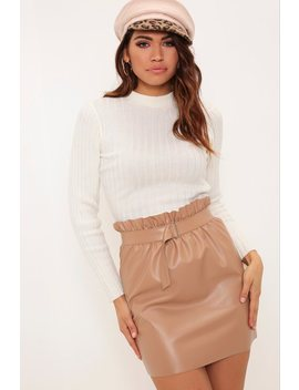 Camel Paper Bag Faux Leather Mini Skirt by I Saw It First