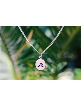 Dainty Hand Stamped Wave Necklace by Etsy