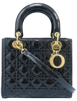 Lady Dior Christian Medium Black Vernis Satchel by Dior