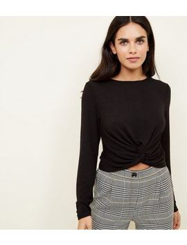 Black Twist Front Fine Knit Long Sleeve Top by New Look