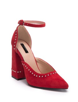Theo Studded Block Heel Pump by Lost Ink
