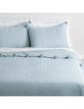 Pale Blue Pom Pom Cameron Quilt by World Market
