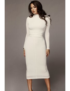 Ivory Grace Ruched Overlay Dress by Jluxlabel