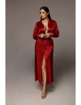Red Reyna Silk Shirt Dress by Jluxlabel