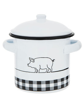 Black & White Pig Enamel Jar by Hobby Lobby