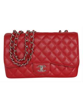 Classic Jumbo Single Flap 10c Red Caviar Leather Shoulder Bag by Chanel