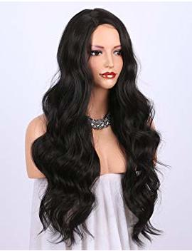 K'ryssma Dark Brown Synthetic Wigs For Women   Natural Looking Long Wavy Right Side Parting None Lace Heat Resistant Replacement Wig Full Machine Made 24... by K'ryssma