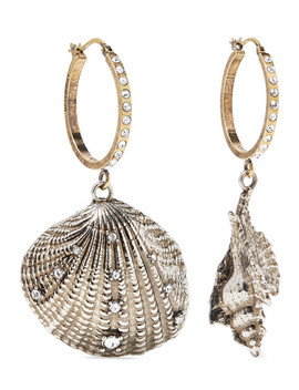Silver And Gold Tone Swarovski Crystal Hoop Earrings by Alexander Mc Queen
