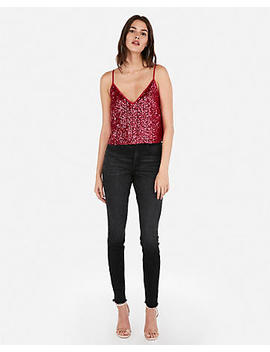 Olivia Culpo Cropped Sequin Cami by Express
