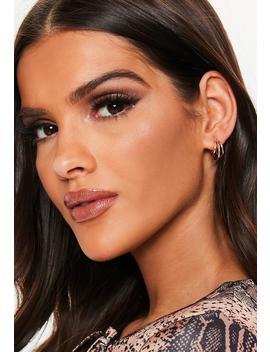 Gold Look Triple Mini Hoop Earrings by Missguided