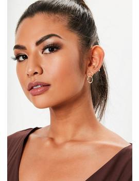 Gold Look Double Link Hoop Earrings by Missguided