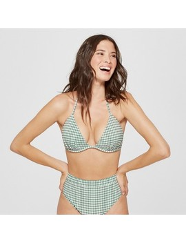 Women's Tropics Push Up Triangle Seersucker Bikini Top   Shade & Shore™ Sage Gingham by Shop This Collection
