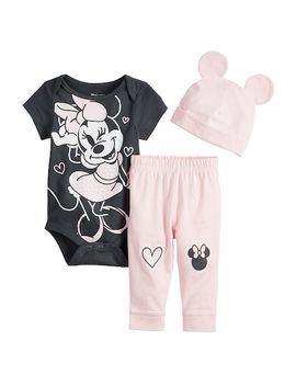 Disney's Minnie Mouse Baby Girl Bodysuit, Pants & Hat Set By Jumping Beans® by Disney's Minnie Mouse Baby Girl Bodysuit, Pants & Hat Set By Jumping Beans