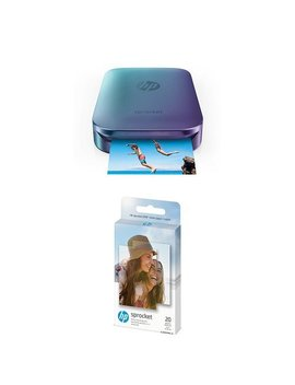 Hp Z9 L26 A Blue Sprocket Portable Photo Printer   Blue With Additional 20 Sheets Zink Sticky Backed Photo Paper by Hp