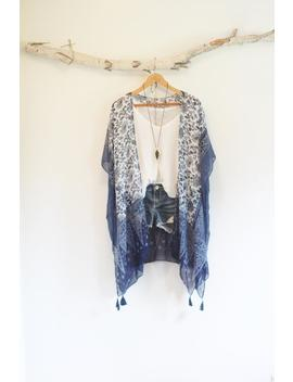 Long Bohemian Kimono * With Tassels * Flower Pattern * Tangled Up In Blue * by Etsy