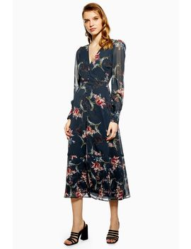 **Mix Scale Floral Midi Dress By Hope & Ivy by Topshop