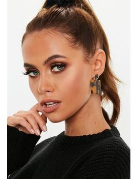 Brown Tortoiseshell Square Drop Earrings by Missguided