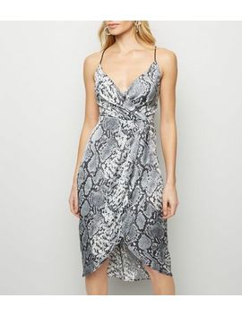 Blue Vanilla Light Grey Snake Print Dress by New Look