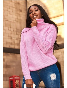 Harper Candy Pink Knit Roll Neck Jumper by Missy Empire