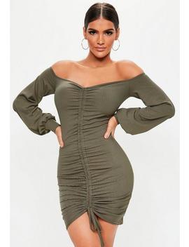 Khaki Bardot Ruched Mini Dress by Missguided