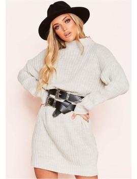 Gayla Beige Knit High Neck Jumper Dress by Missy Empire