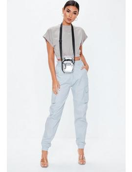 Silver Crew Neck Gathered Waist Crop Top by Missguided