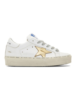 White & Gold Hi Star Sneakers by Golden Goose