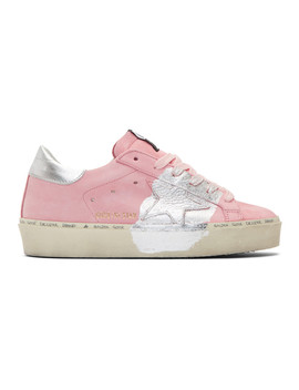 Pink Silver Leaf Hi Star Sneakers by Golden Goose