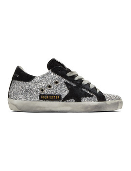 Silver & Black Glitter Superstar Sneakers by Golden Goose