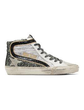 Silver Glitter Slide High Top Sneakers by Golden Goose