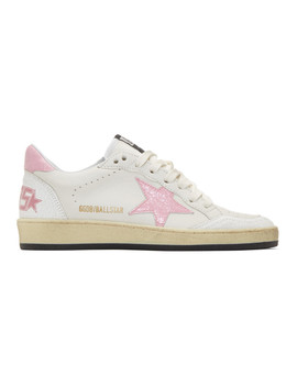 White & Pink Ball Star Sneakers by Golden Goose