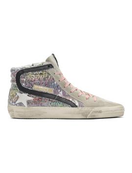Multicolor Sequin Slide Sneakers by Golden Goose