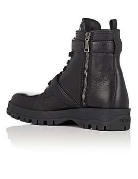 Double Strap Leather Ankle Boots by Prada