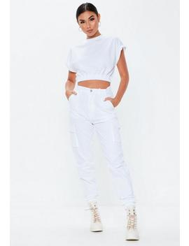 White Crew Neck Gathered Waist Crop Top by Missguided