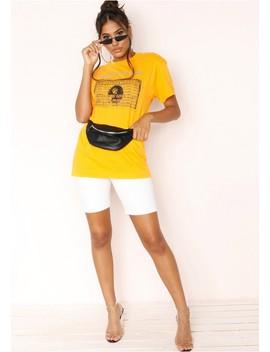 Alyssa Mustard Ghetto Express Slogan T Shirt by Missy Empire