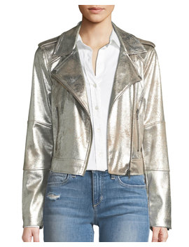 Brooklee Foiled Faux Suede Moto Jacket by Cupcakes And Cashmere