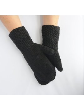 Handmade Black Knitted Mittens For Men Or Women Vintage Style Longer Arm Wrist by Etsy