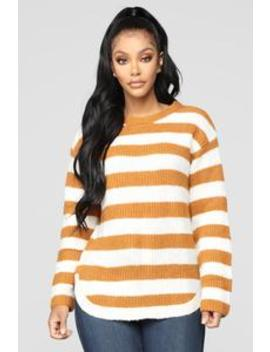 Cozy Stripes Sweater   Mustard by Fashion Nova