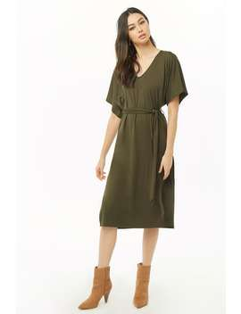 Belted Midi Dress by Forever 21