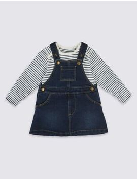 2 Piece Denim Pinny &Amp; Bodysuit by Marks & Spencer