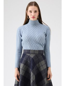 Automatic Love Knit Sweater In Blue by Chicwish
