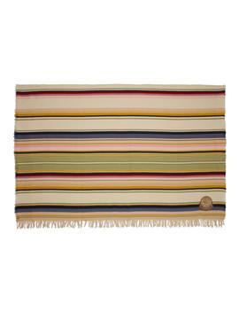 Beige Stripes Wool Blanket by Loewe