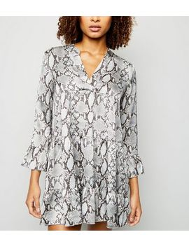 Cameo Rose Grey Snake Print Satin Smock Dress by New Look