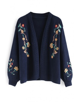 Dreamy Blossom Embroidered Cardigan In Navy by Chicwish