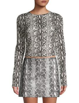 Delaina Snakeskin Print Crop Top by Alice + Olivia