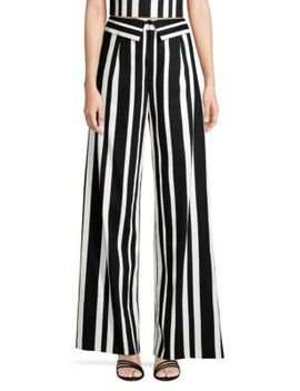 Foldover Striped Wide Leg Pants by Alice + Olivia